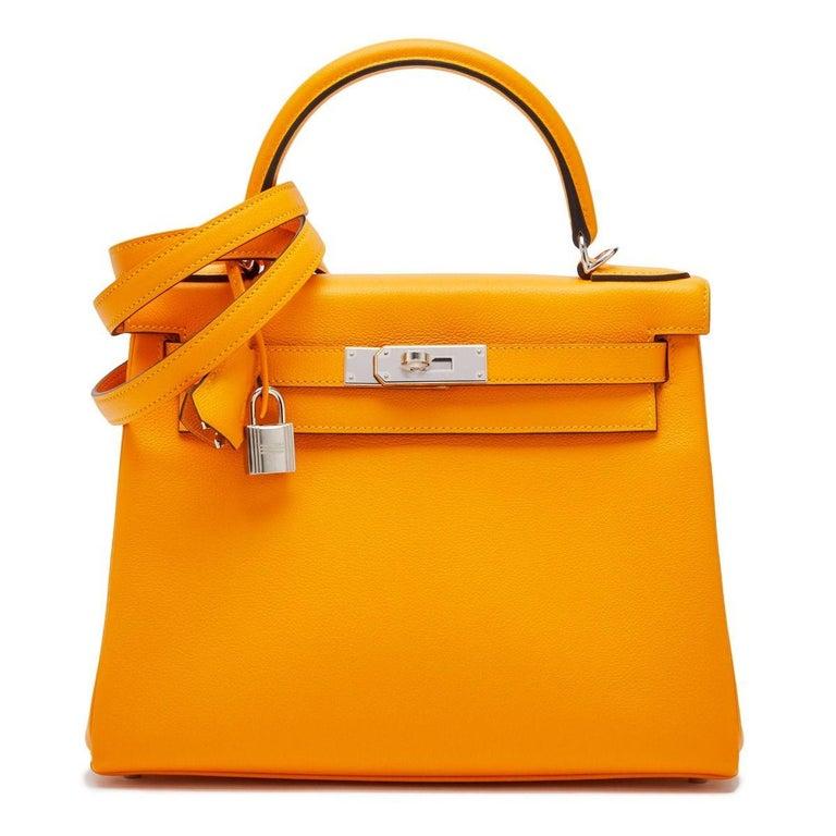 Hermès Kelly 28 Apricot Evercolor For Sale 1
