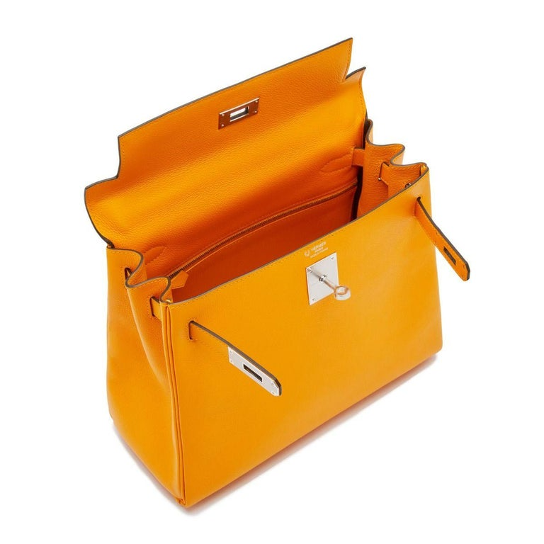 Hermès Kelly 28 Apricot Evercolor For Sale 2