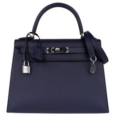 Hermes Kelly 28 Bag Blue Indigo Sellier Epsom Palladium Hardware New/Box