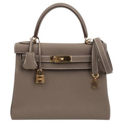 Hermes Kelly 28 Bag Etoupe Retourne Togo Gold Hardware
