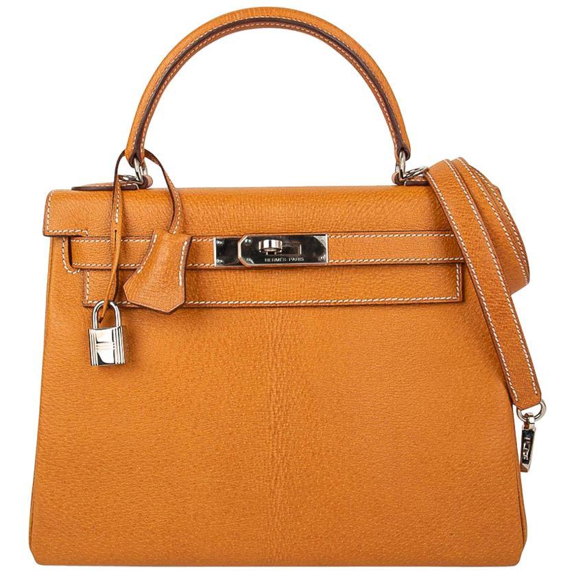 Hermes Kelly 28 Bag Gold Peau Porc Leather Palladium Hardware