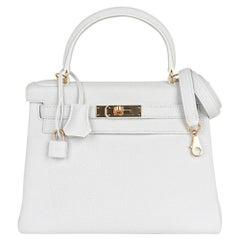 Hermes Kelly 28 Bag White Gold Hardware Clemence Leather