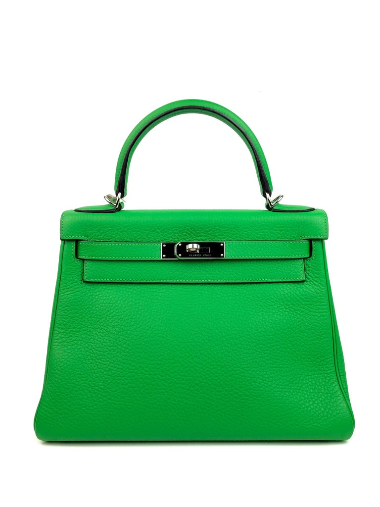 Hermes Kelly 28 Bamboo Green Palladium Hardware . 2014 R STAMP. Excellent Pristine Condition, Light Hairlines on Hardware, perfect corners and excellent structure.   Shop with confidence from Lux Addicts. Authenticity guaranteed!