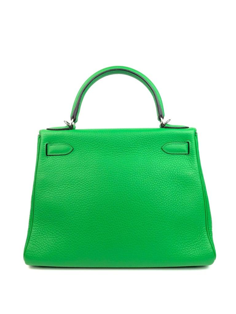 Women's or Men's Hermes Kelly 28 Bamboo Green Palladium Hardware  For Sale