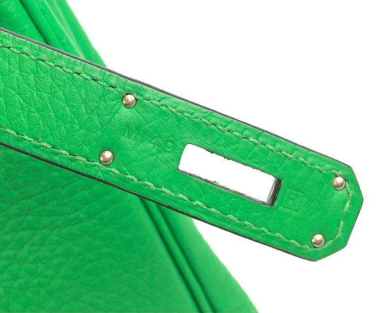 Hermes Kelly 28 Bamboo Green Palladium Hardware  For Sale 4