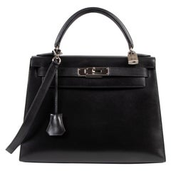 Hermes Kelly 28 Black Boxcalf + Strap