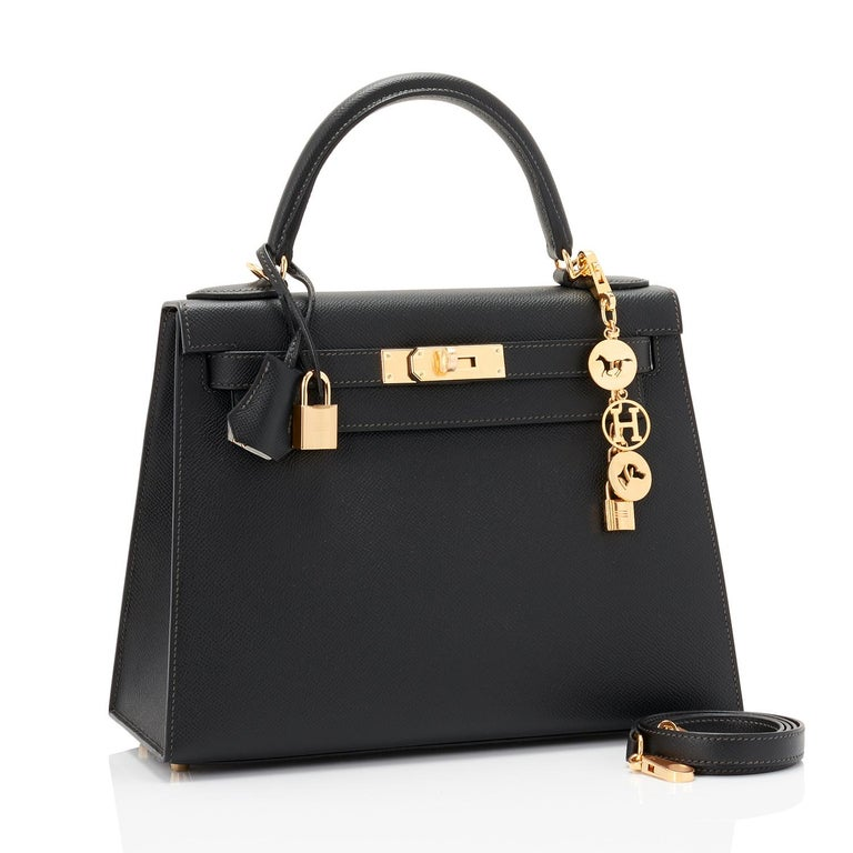 Hermes Black Epsom 28cm Kelly Sellier Gold Hardware Y Stamp, 2020 Brand New in Box. Store Fresh. Pristine Condition (with plastic on hardware).  Just purchased from Hermes store; bag bears new interior 2020 Y stamp.  Perfect gift!  Comes full set