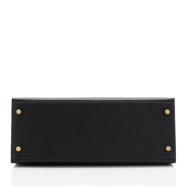 Hermes Kelly 28 Black Epsom Sellier Gold Hardware Y Stamp, 2020 For Sale 3