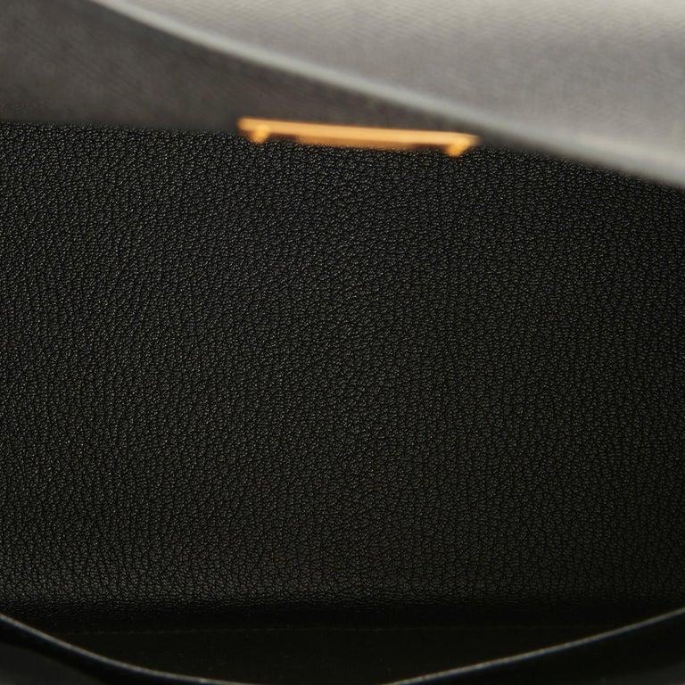 Hermes Kelly 28 Black Epsom Sellier Gold Hardware Y Stamp, 2020 For Sale 4
