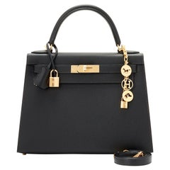Hermes Kelly 28 Black Epsom Sellier Gold Hardware Y Stamp, 2020