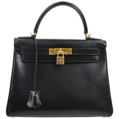 Hermes Kelly 28 Black Mini Gold Evening Top Handle Satchel Shoulder Bag