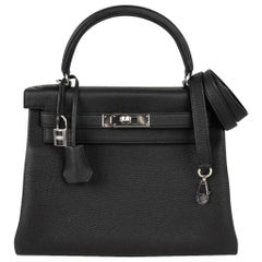 Hermes Kelly 28 Black Retourne Bag Togo Palladium Hardware