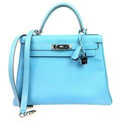 Hermes Kelly 28 Blue Celeste Mykonos Candy Epsom Palladium Hardware