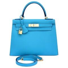Hermes Kelly 28 Blue de Nord Epsom Sellier Bag Gold Hardware