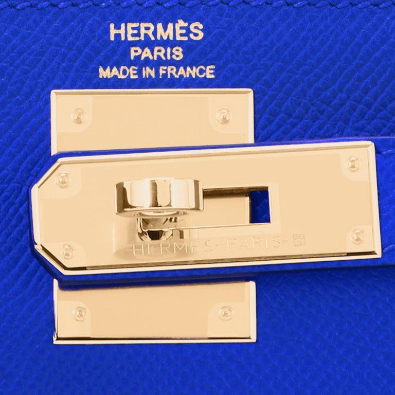 Hermes Kelly 28 Blue Electric Sellier Epsom Shoulder Bag Rare NEW For Sale 6