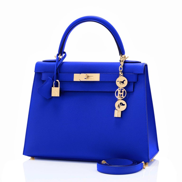 Hermes Kelly 28 Blue Electric Sellier Epsom Shoulder Bag Rare NEW New or Never Worn. Pristine Condition (with plastic on hardware). Perfect gift! Comes full set with keys, lock, clochette, shoulder strap, sleepers, felt cover, and Hermes box. Blue