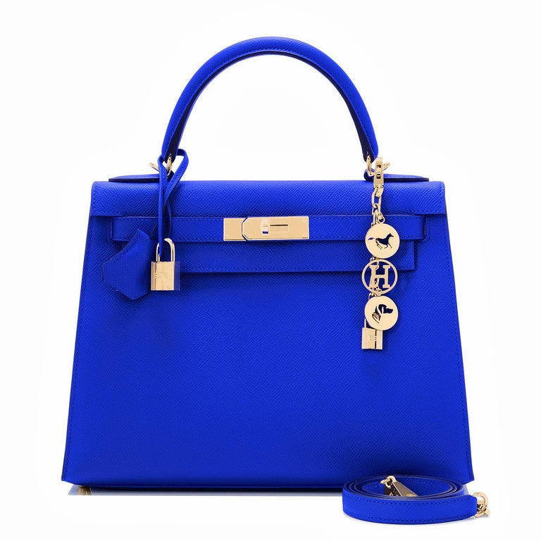 Hermes Kelly 28 Blue Electric Sellier Epsom Shoulder Bag Rare NEW In New Condition For Sale In New York, NY