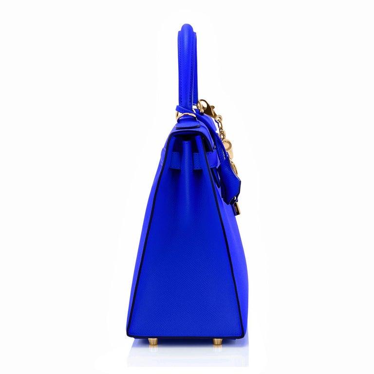Hermes Kelly 28 Blue Electric Sellier Epsom Shoulder Bag Rare NEW For Sale 1