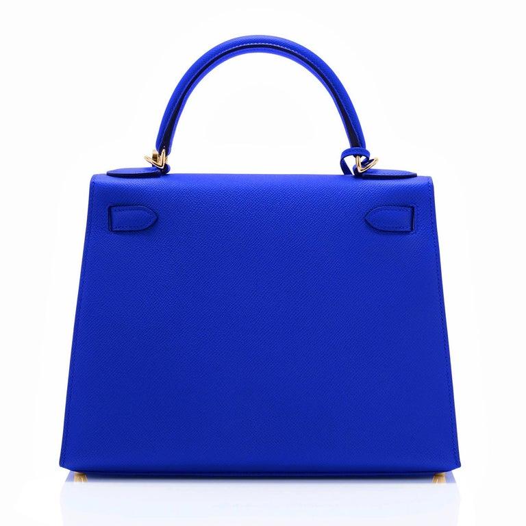 Hermes Kelly 28 Blue Electric Sellier Epsom Shoulder Bag Rare NEW For Sale 2