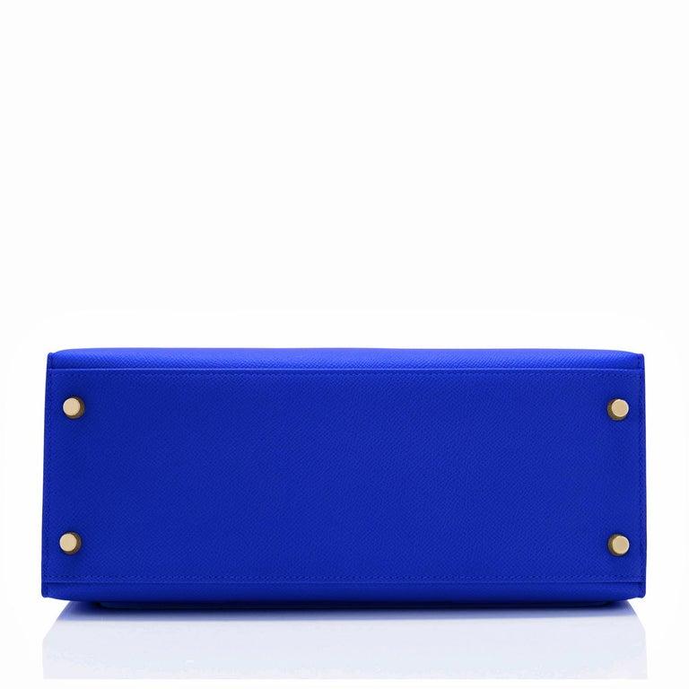 Hermes Kelly 28 Blue Electric Sellier Epsom Shoulder Bag Rare NEW For Sale 3