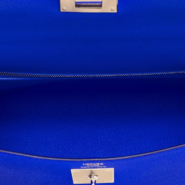 Hermes Kelly 28 Blue Electric Sellier Epsom Shoulder Bag Rare NEW For Sale 4