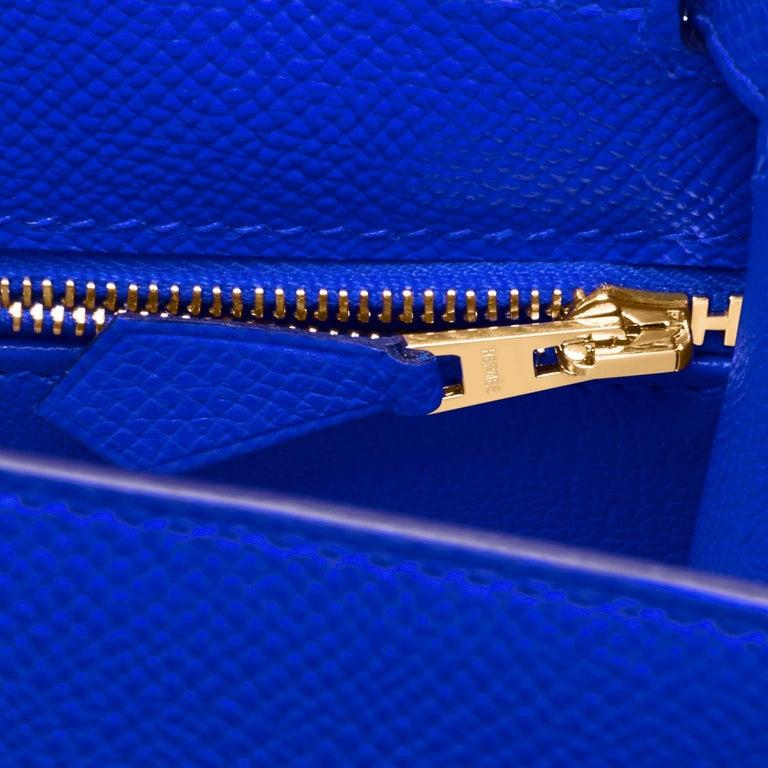 Hermes Kelly 28 Blue Electric Sellier Epsom Shoulder Bag Rare NEW For Sale 5