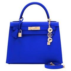 Hermes Kelly 28 Blue Electric Sellier Epsom Shoulder Bag Rare NEW