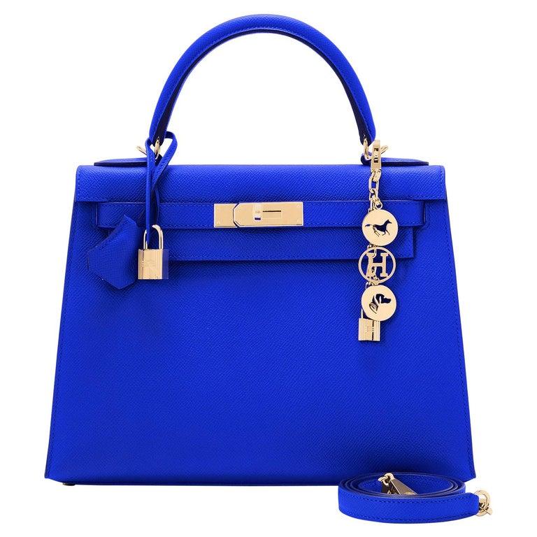 Hermes Kelly 28 Blue Electric Sellier Epsom Shoulder Bag Rare NEW For Sale