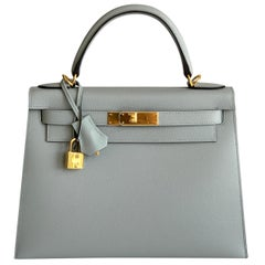Hermes Kelly 28 Blue Glacier Epsom Sellier Bag Gold Hardware
