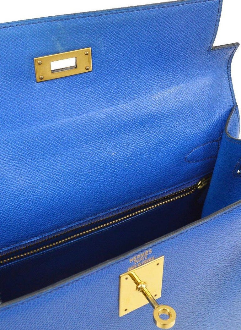 Hermes Kelly 28 Blue Leather Gold  Top Handle Satchel Tote Shoulder Bag  In Good Condition For Sale In Chicago, IL
