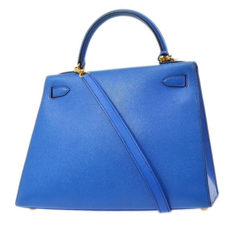 Women's Hermes Kelly 28 Blue Leather Gold  Top Handle Satchel Tote Shoulder Bag  For Sale