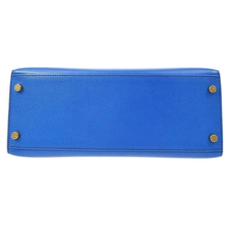 Hermes Kelly 28 Blue Leather Gold  Top Handle Satchel Tote Shoulder Bag  For Sale 1