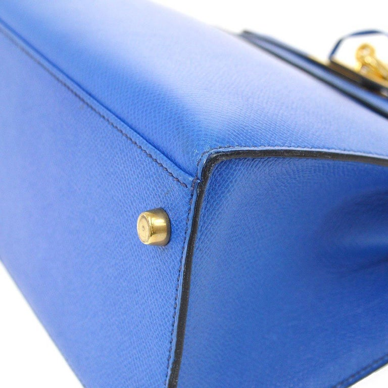 Hermes Kelly 28 Blue Leather Gold  Top Handle Satchel Tote Shoulder Bag  For Sale 2