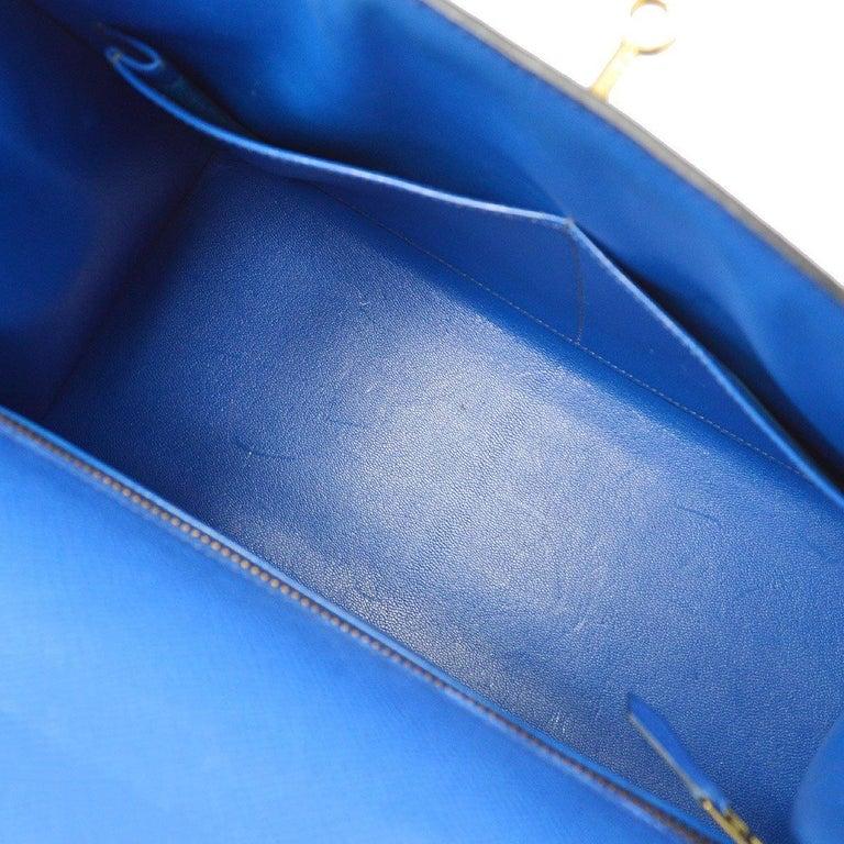 Hermes Kelly 28 Blue Leather Gold  Top Handle Satchel Tote Shoulder Bag  For Sale 3