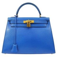 Hermes Kelly 28 Blue Leather Gold  Top Handle Satchel Tote Shoulder Bag