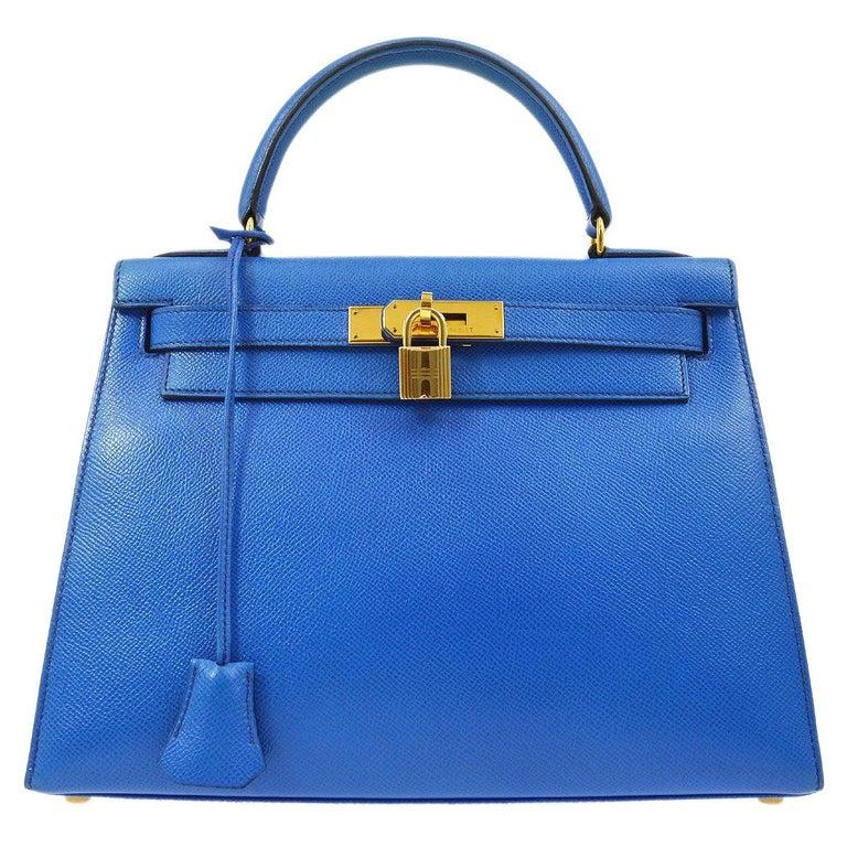 Hermes Kelly 28 Blue Leather Gold  Top Handle Satchel Tote Shoulder Bag  For Sale