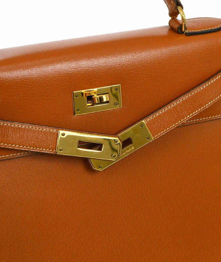 Hermes Kelly 28 Cognac Leather Gold Evening Top Handle Satchel Tote Bag  Leather Gold tone hardware Leather lining Date code present Made in France Handle drop 3.5