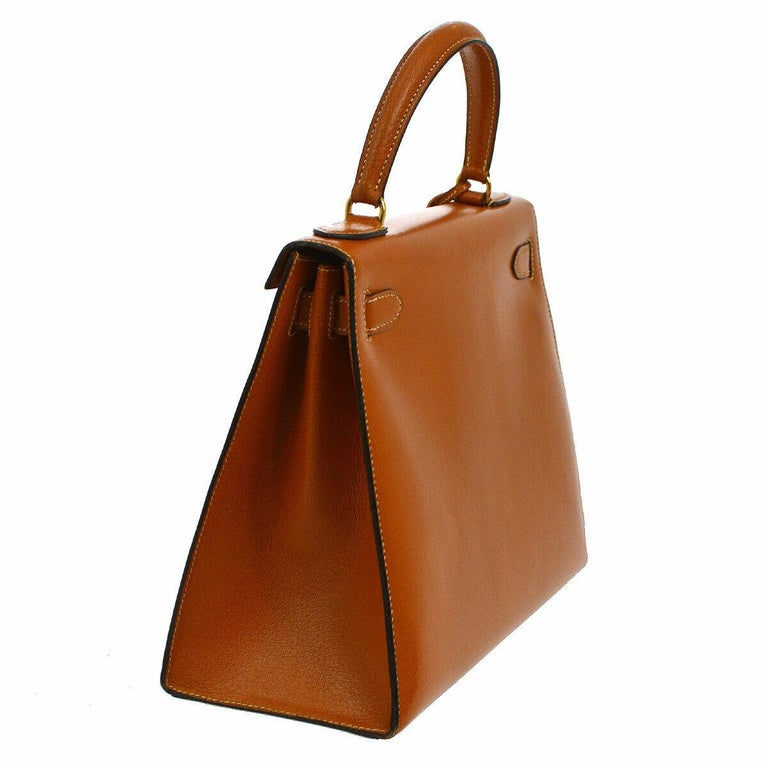 Hermes Kelly 28 Cognac Leather Gold Evening Top Handle Satchel Tote Bag In Good Condition For Sale In Chicago, IL