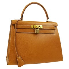 Hermes Kelly 28 Cognac Leather Gold Top Handle Tote Shoulder Bag