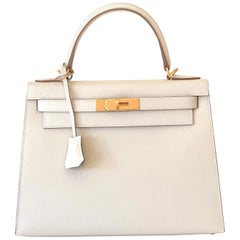 Hermes Kelly 28 Craie Epsom Sellier Bag Brushed Gold Hardware Horseshoe