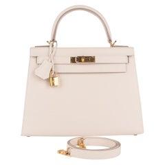 Hermes Kelly 28 Craie Epsom Sellier Bag Gold Hardware