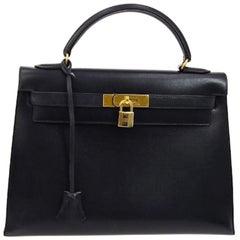 Hermes Kelly 28 Dark Blue Leather Gold Top Handle Satchel Shoulder Tote Bag