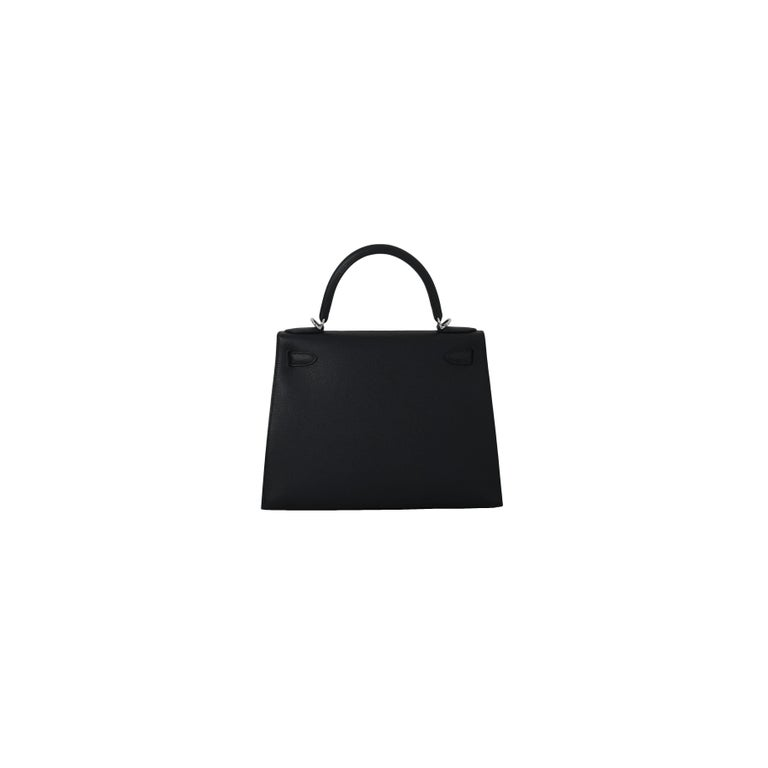 Hermes Kelly 28 Epsom Palladium Hardware Black In New Condition For Sale In Flushing, NY