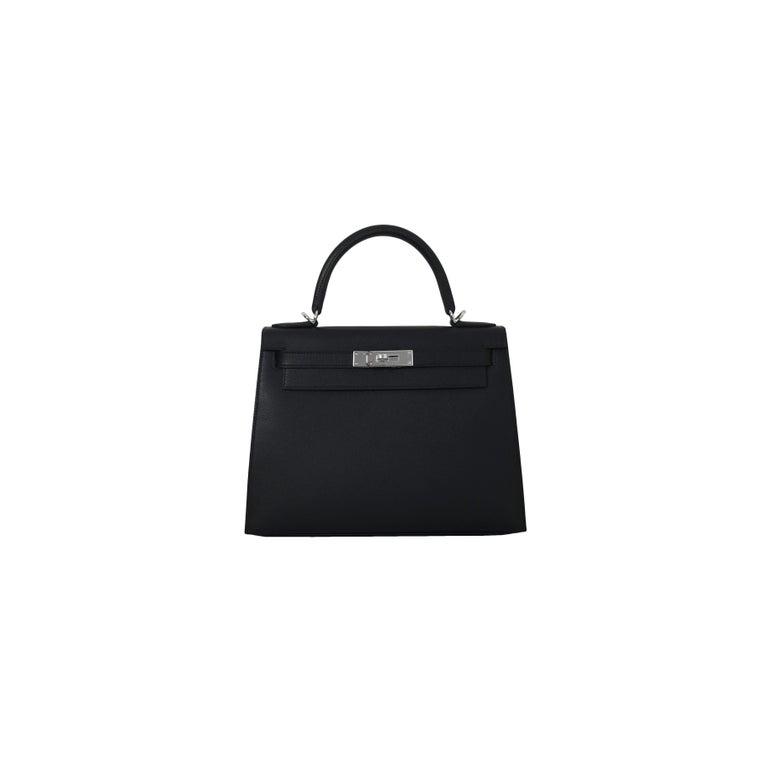 Women's or Men's Hermes Kelly 28 Epsom Palladium Hardware Black For Sale