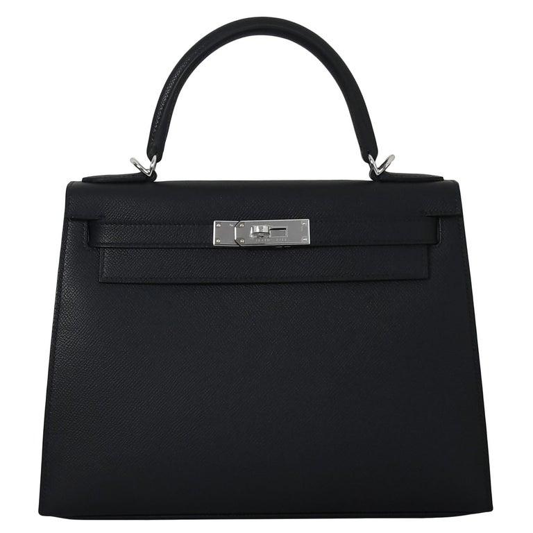 Hermes Kelly 28 Epsom Palladium Hardware Black For Sale