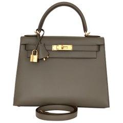 Hermes Kelly 28 Etain Epsom Sellier Bag Gold Hardware