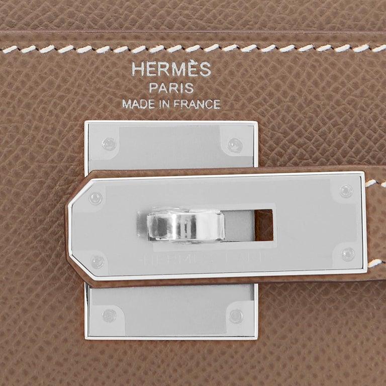 Hermes Kelly 28 Etoupe Epsom Sellier Taupe Shoulder Bag Y Stamp, 2020 For Sale 5
