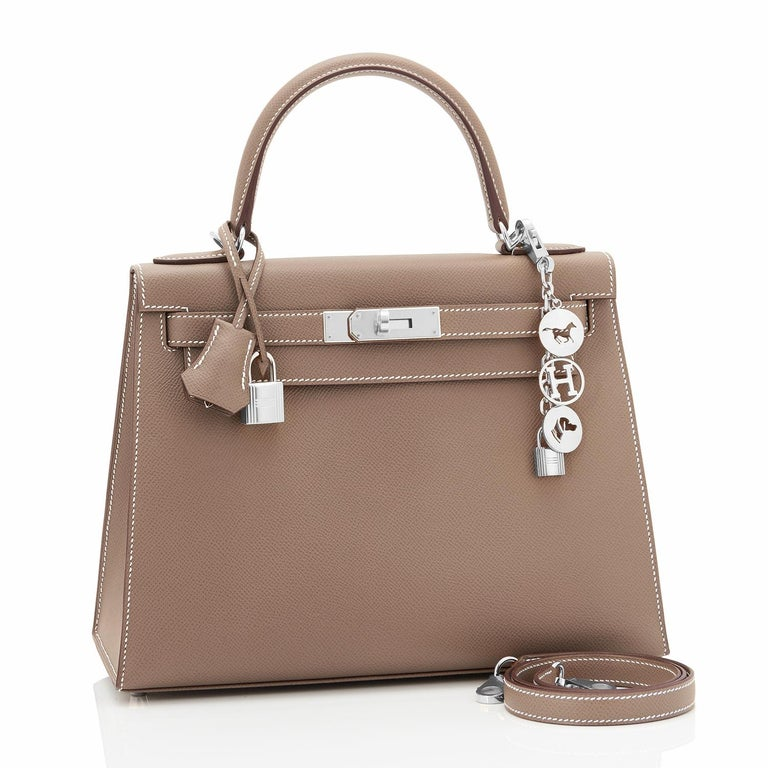 Hermes Kelly 28cm Etoupe Taupe Gold Sellier Shoulder Bag Y Stamp, 2020 Just purchased from Hermes store; bag bears new interior 2020 Y Stamp. Brand New in Box. Store Fresh. Pristine Condition (with plastic on hardware). Perfect gift! Comes full set