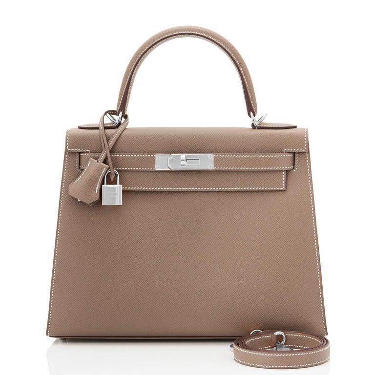 Brown Hermes Kelly 28 Etoupe Epsom Sellier Taupe Shoulder Bag Y Stamp, 2020 For Sale