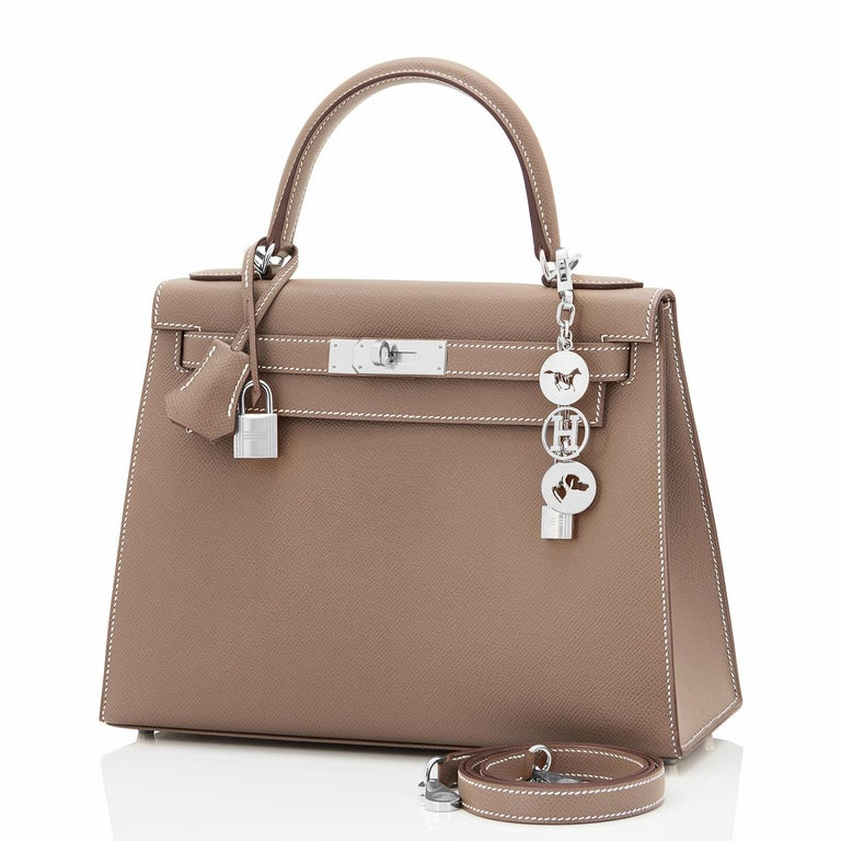 Hermes Kelly 28 Etoupe Epsom Sellier Taupe Shoulder Bag Y Stamp, 2020 In New Condition For Sale In New York, NY